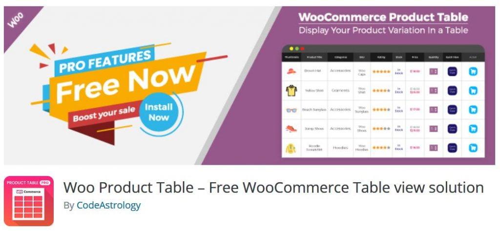 Woo Product Table Plugin - Free